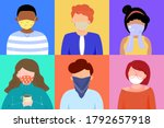 group of people wearing cloth... | Shutterstock .eps vector #1792657918