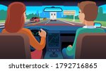 people inside car. driver and... | Shutterstock .eps vector #1792716865