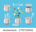 cooking pans with water.... | Shutterstock .eps vector #1792720402