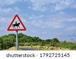 Uk Road Sign Accompanied Horse...