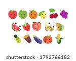 set of happy fruit icons... | Shutterstock . vector #1792766182