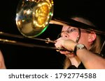 Female Trombonist Playing A...