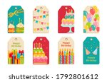 birthday party tags set sticker.... | Shutterstock .eps vector #1792801612
