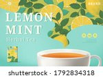 lemon mint tea ads with... | Shutterstock .eps vector #1792834318