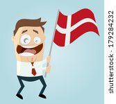 happy cartoon man with danish flag