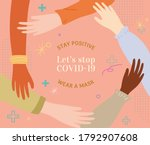 hands from multi ethnic people... | Shutterstock . vector #1792907608