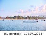 Yachts And Motorboats Sailing...