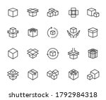 vector set of box line icons.... | Shutterstock .eps vector #1792984318