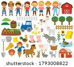 farm life clipart set. big...   Shutterstock . vector #1793008822
