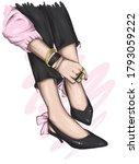 long slender legs in tight... | Shutterstock .eps vector #1793059222