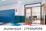 school corridor and classroom.... | Shutterstock . vector #1793069098