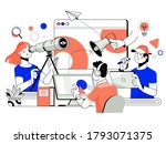 the concept of joint teamwork ... | Shutterstock .eps vector #1793071375