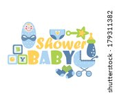 cute card for newborns. vector... | Shutterstock .eps vector #179311382