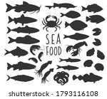 seafood and fish silhouette... | Shutterstock .eps vector #1793116108