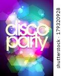 disco party design on a bokeh... | Shutterstock .eps vector #179320928