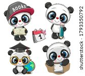 set of cute cartoon pandas... | Shutterstock .eps vector #1793350792
