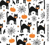 halloween black cat wearing... | Shutterstock .eps vector #1793458282