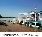 Small photo of Launch boat Ferry Services from kolkata city to howrah in Budge Budge Ferry Ghat Ferry Service by WBTC - West Bengal Transport Corporation on Ganga or Ganges river. kolkata, india, Asia, December 2020