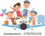 airplane travel family fun... | Shutterstock .eps vector #1793702155