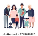 happy big family with parents ...   Shutterstock .eps vector #1793702842