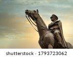 Small photo of Bursa, Turkey - August 11, 2020: Bronze memorial statue of Mustafa Kemal Ataturk on his horse, the founder of the Republic of Turkey, over the sunset sky.