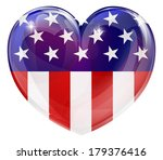 American flag love heart concept with the American flag in a heart shape - stock photo