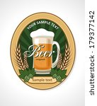 label with a glass of beer and... | Shutterstock .eps vector #179377142