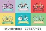 vintage bike  fixed gear ... | Shutterstock .eps vector #179377496