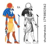 portrait of ra   egyptian god... | Shutterstock .eps vector #1793802562