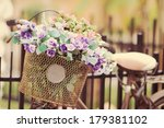 The Bike Basket With Roses Wit...