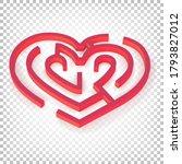 heart shaped maze. 3d puzzle... | Shutterstock .eps vector #1793827012