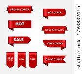 set of red sale ribbons   Shutterstock .eps vector #1793832415