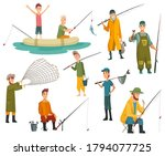 set of fishermans fishing with... | Shutterstock .eps vector #1794077725