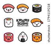 set of cute sushi in kawaii... | Shutterstock .eps vector #1794119218
