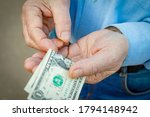 Hands Of An Elderly Man With...