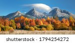 Autumn view on High Tatras mountains national park in Slovakia