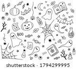 halloween doodle background.... | Shutterstock . vector #1794299995