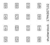 smartphone interface line icons ...