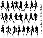 set of silhouettes. runners on... | Shutterstock .eps vector #179438162