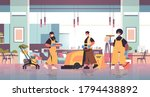 mix race cleaners in masks... | Shutterstock .eps vector #1794438892