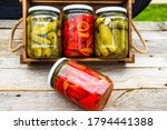 Glass Jars With Pickled Red...