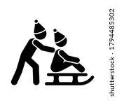 children play sledding icon....