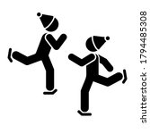 men skiing icon. simple...