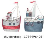 Set Of Ships  Sailboats In Red...