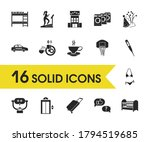 tourism icons set with free...
