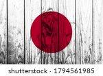 Japan Flag On Wooden Planks