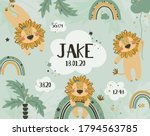 cute baby lions with rainbow... | Shutterstock .eps vector #1794563785