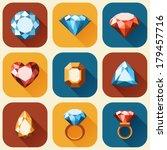 Flat Diamond Icons Collection ...