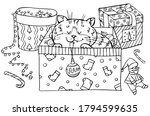coloring of a cat hidden in a... | Shutterstock .eps vector #1794599635
