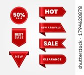 set of red sale ribbons   Shutterstock .eps vector #1794620878